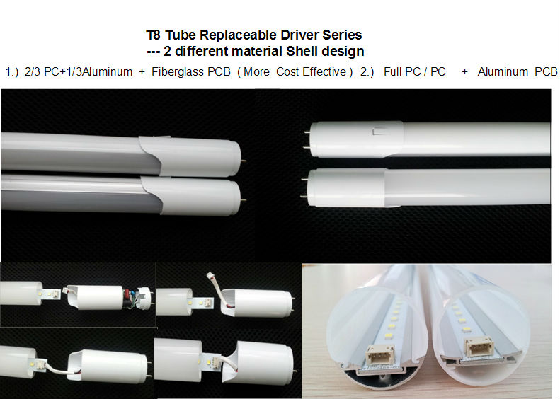 Replaceable Driver 4ft 18W T8 LED Tube UL/TUV/SAA