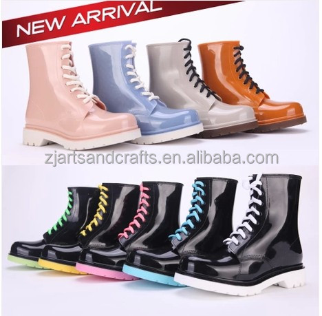 Waterproof tie shoelace print martin cheap jelly rain boots shoes