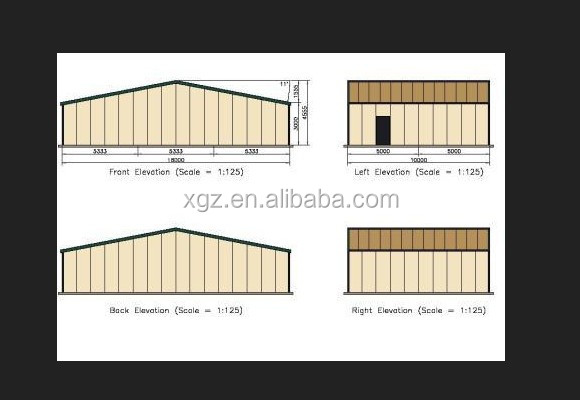 Prefabricated steel hangar building for large aircraft