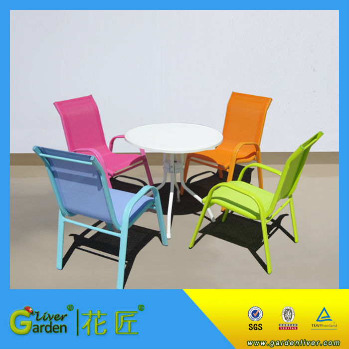 Colorful Outdoor Stackable Metal Kids Sling Chair