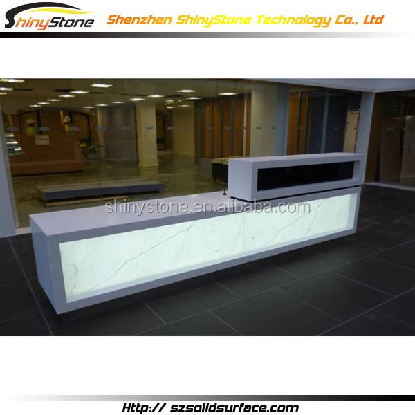transparent white lighting design white krion solid surface boutique counter desk boutique reception counter