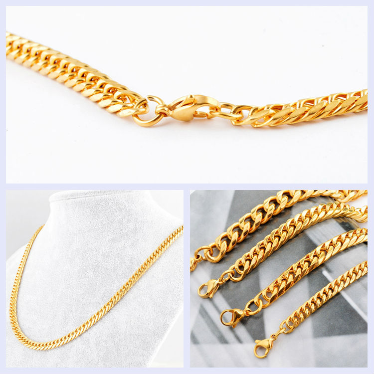 Saudi Gold Set Men Fashion Design Simple Gold Chain