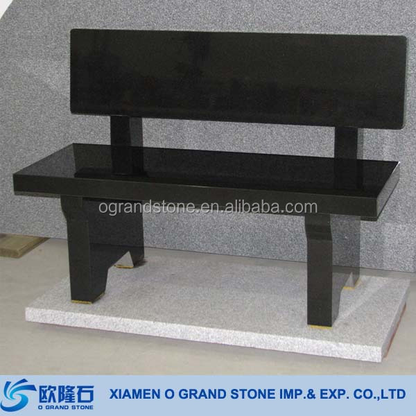 Chna Black Granite Stone Bench With Back Cheap Stone Garden Bench