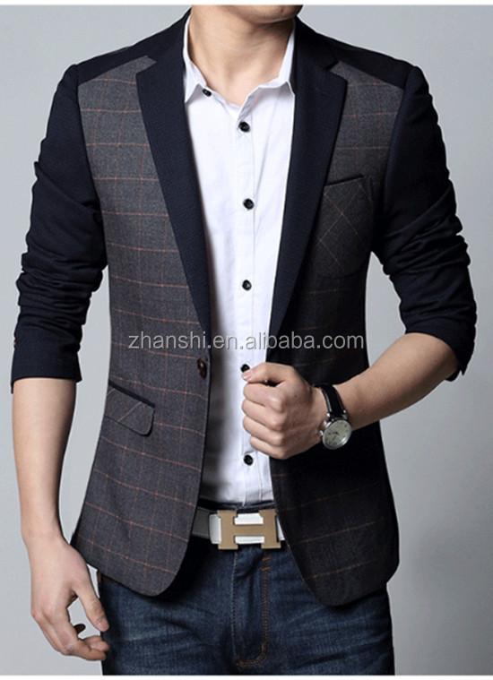 a667a0d1176 Korean Style High Quality Fashion Wool Blend Plaid Suit For Men ...