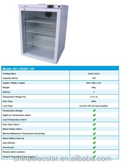 Glass Door Upright Pharmacy Refrigerator Medical Fridge