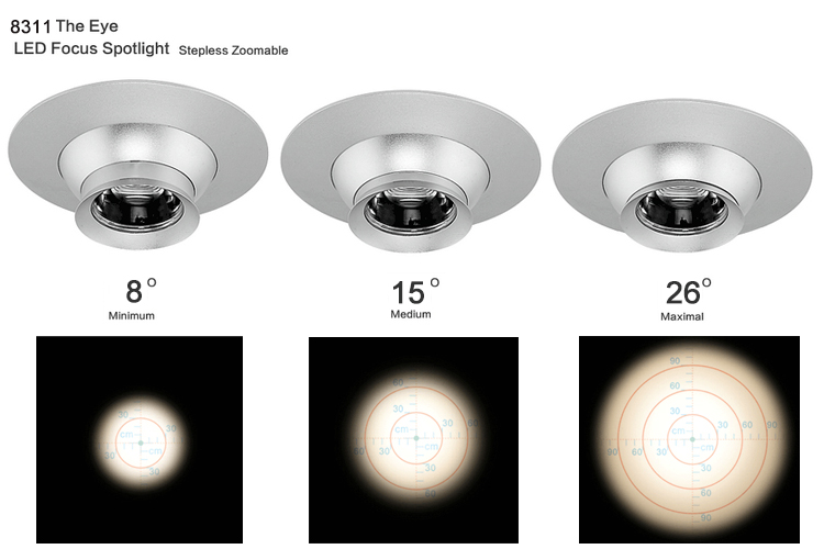1w Xpe Led Recessed Lighting Eyeball Adjustable Beam Angle