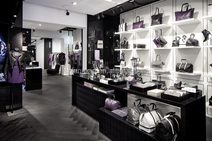 Customized modern bag showcase for bags shop interior design