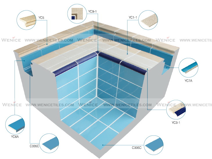 240x115mm standard FINA deck swimming pool ceramic tiles