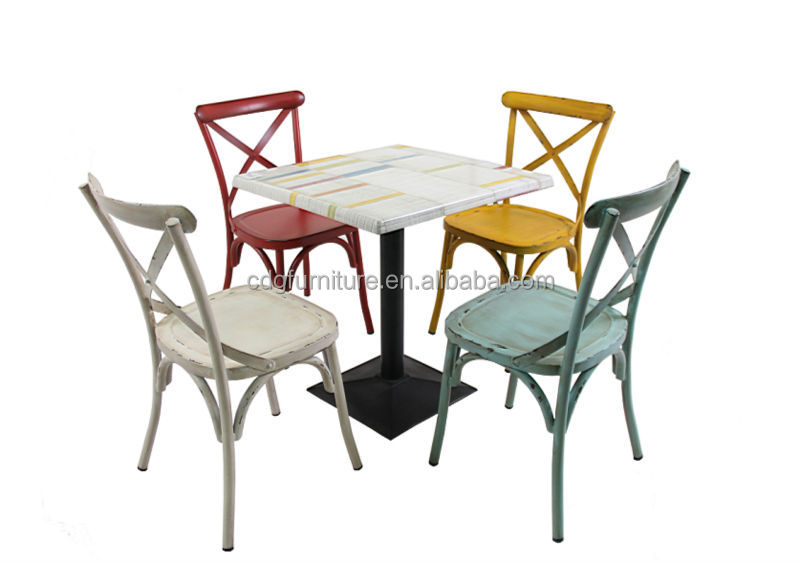 Retro Metal Armrest Dining Chairs