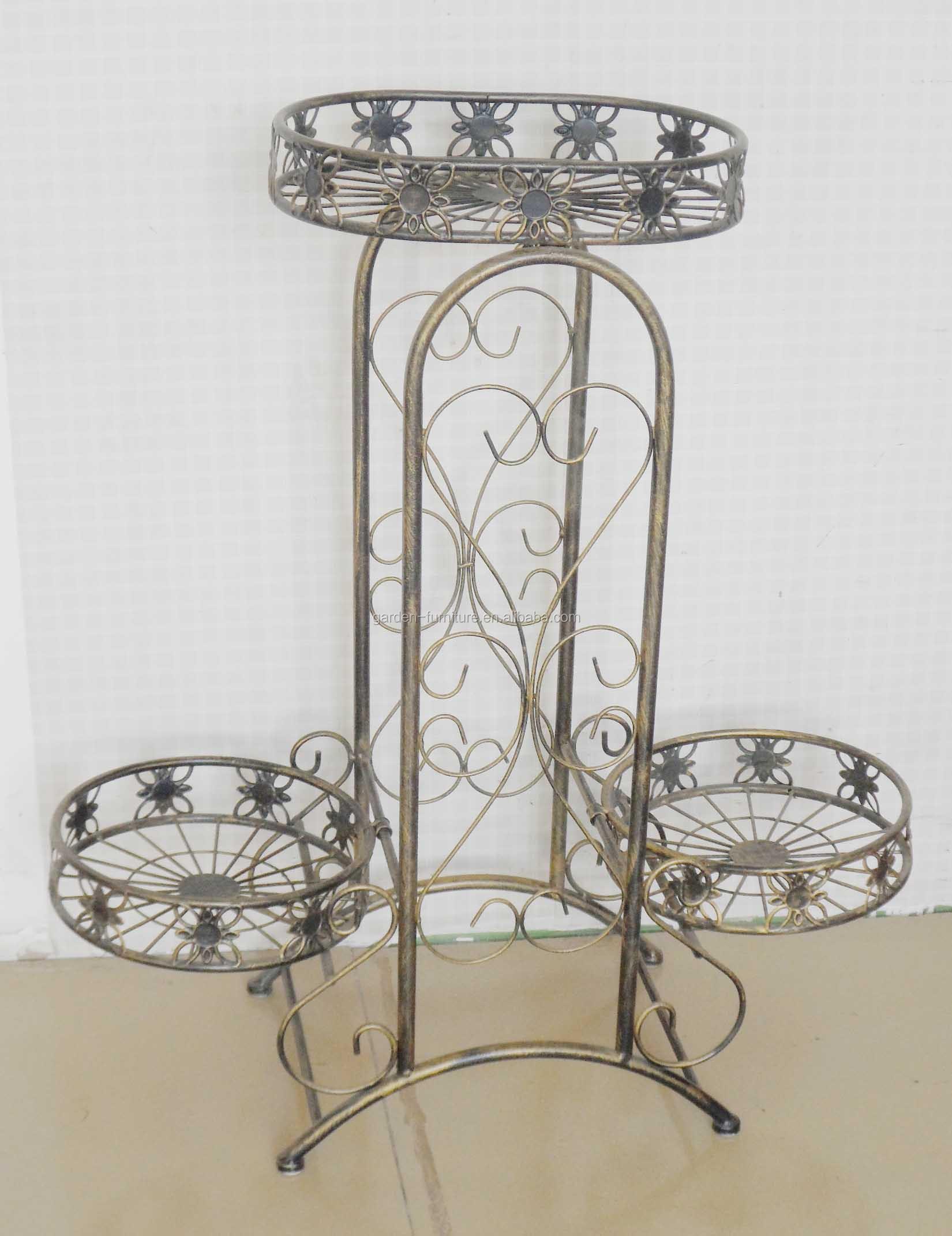 Handicraft Home Indoor Outdoor Garden Furniture Decor Metal Flower Shelf  Wrought Iron Pot Plant Holder