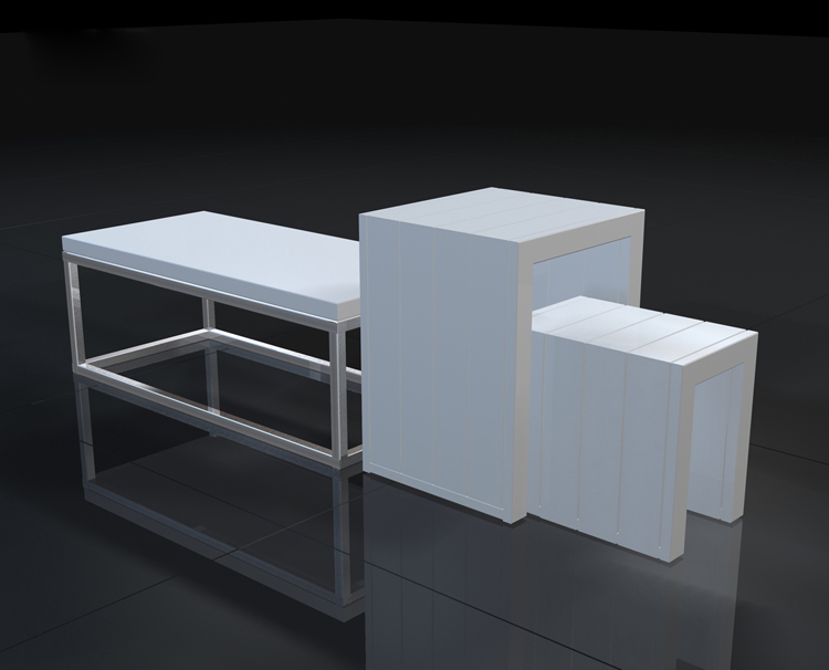 retail store display table with modern design and durable