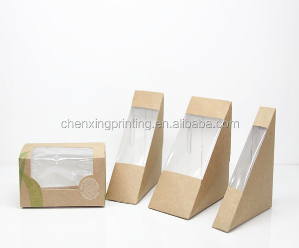 High quality cardboard triangle sandwich packaging box for Triangle wholesale printing