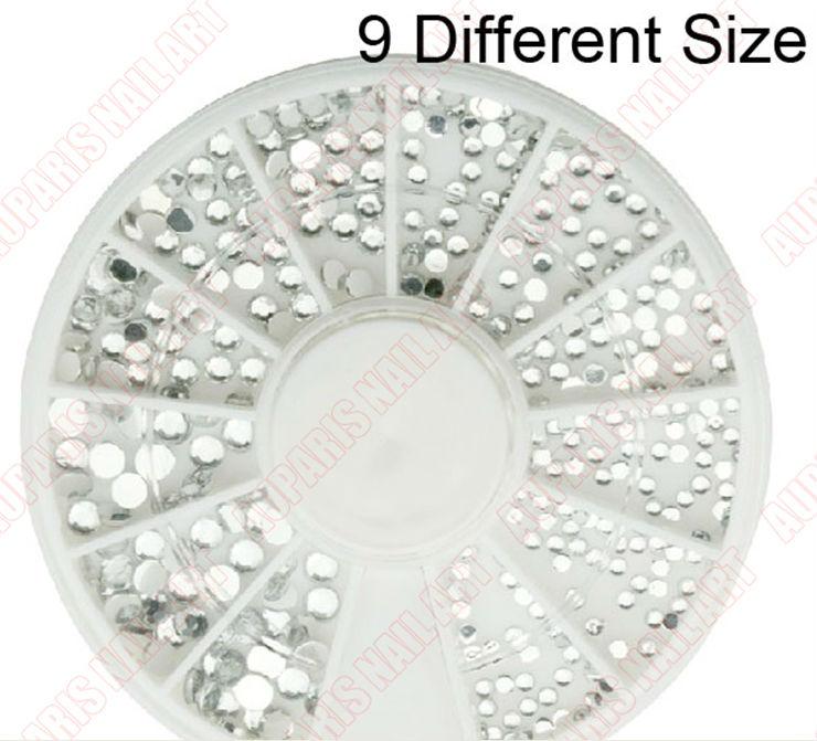 3mm Clear Round Nail Rhinestones Hard Case Nail Art Tips Acrylic ...