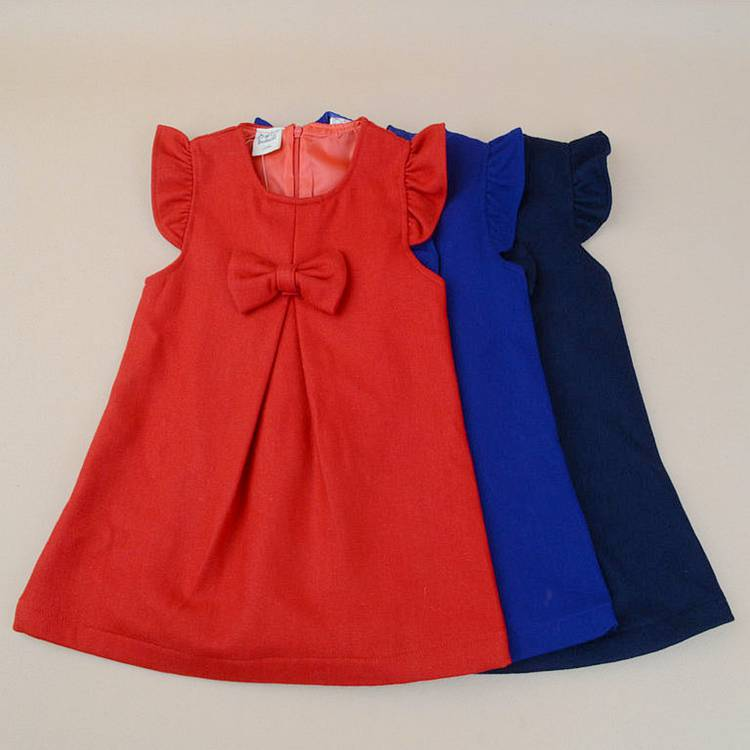 R&h Cotton Summer Pure Color Fashion Baby Frock Designs