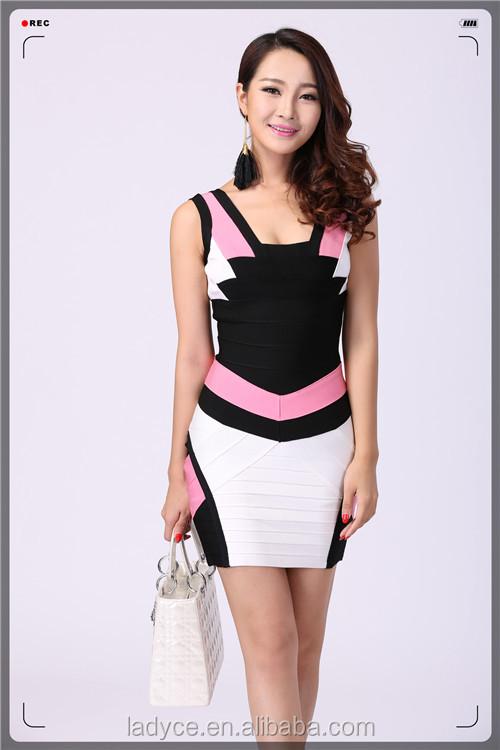 Fashionable Pink-black-white Color Block Sleeveless Bandage Dress ...