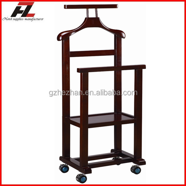 dual rail wood mobile clothes valet stand with four. Black Bedroom Furniture Sets. Home Design Ideas