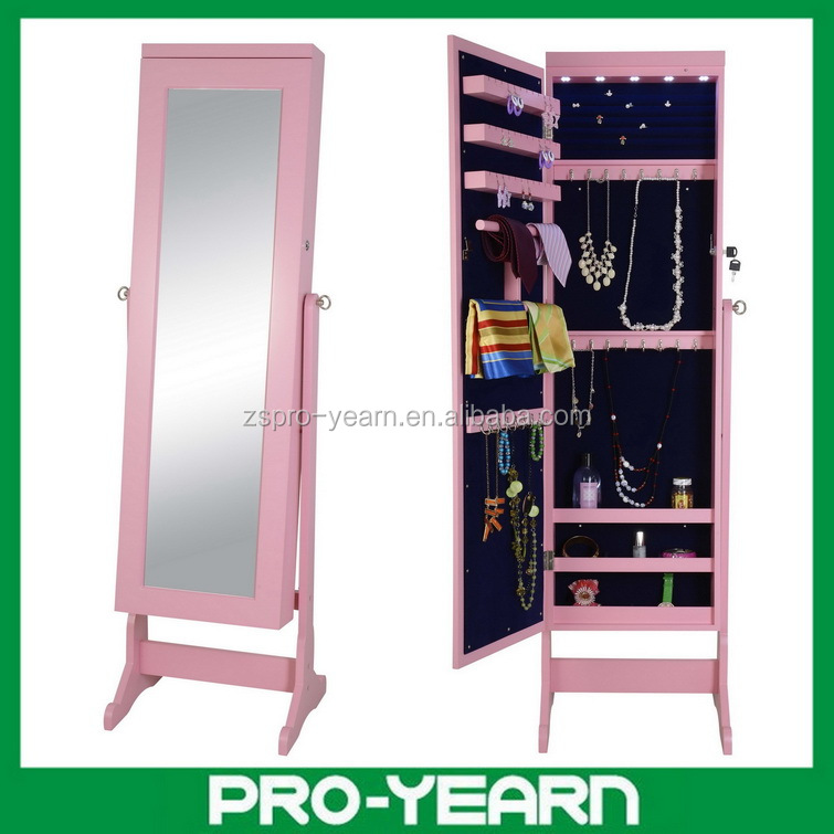 Floor standing wooden mirror jewellery cabinet for jewelry