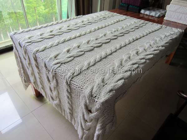 50da47 100%acrylic Oversized Handknit Like Cable Knit Blanket ...