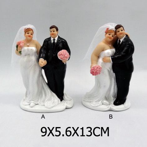 Resin Fat Groom And Bride Couple Figure Wedding Cake Decoration