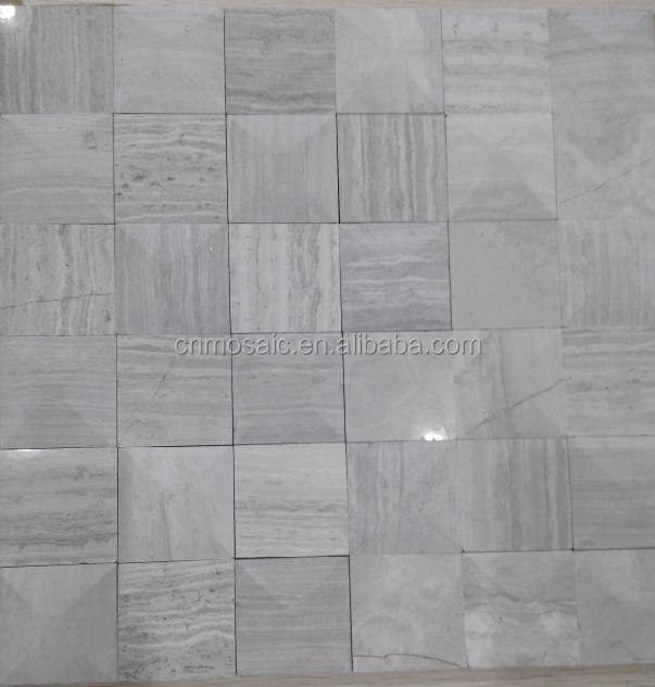 Biselado cut vena de madera blanca grises azulejos de for Mosaico madera pared