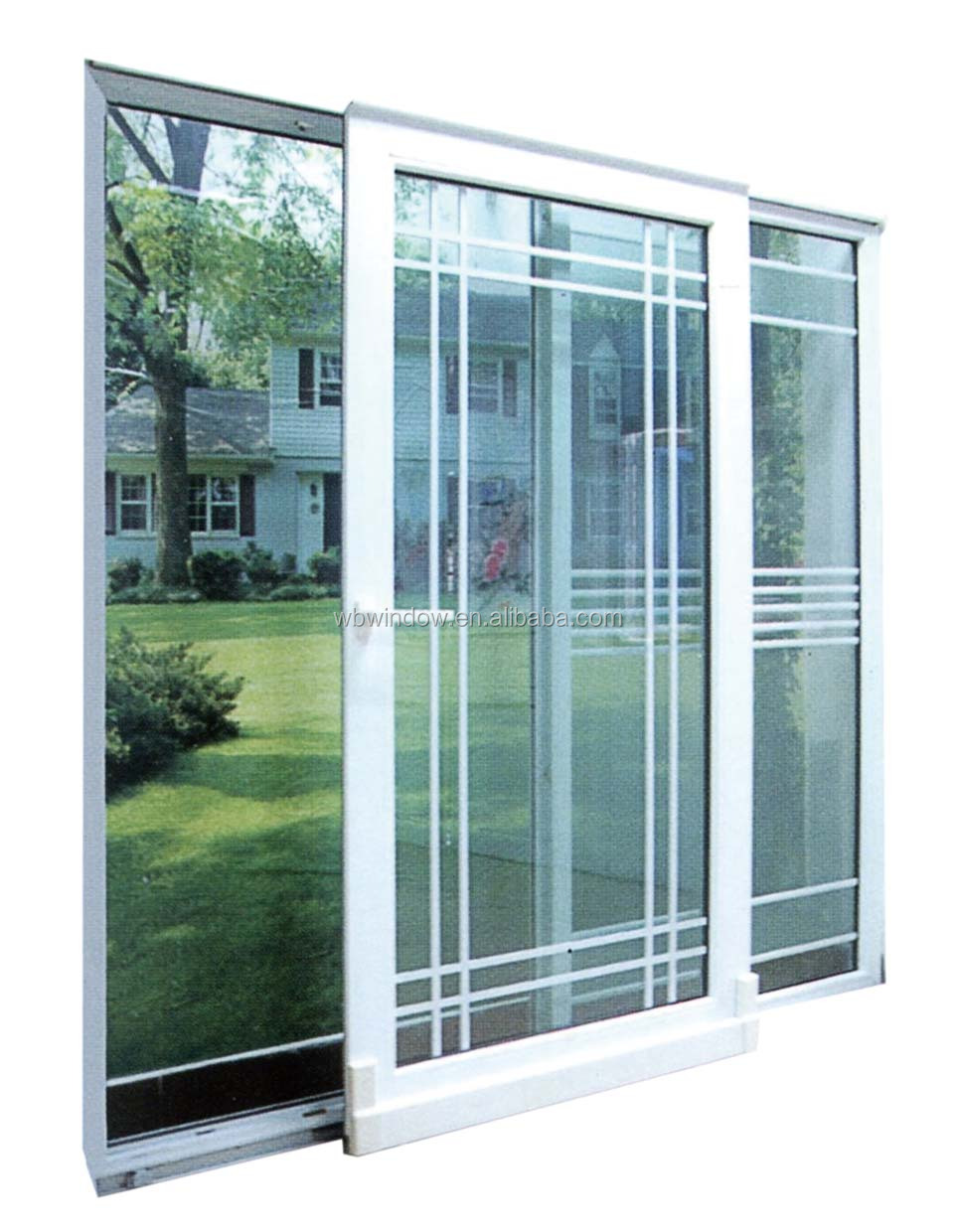 Energy star double triple insulating glass pvc upvc for Double glazed sliding patio doors