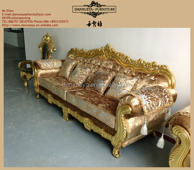 Charming Italian Living Room Furniture Carved Classic Golden Sofa