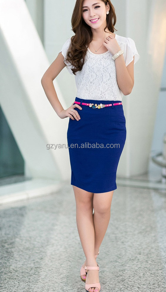Lady Formal Trouser Suits High Waisted Pencil Skirt With Elastic ...