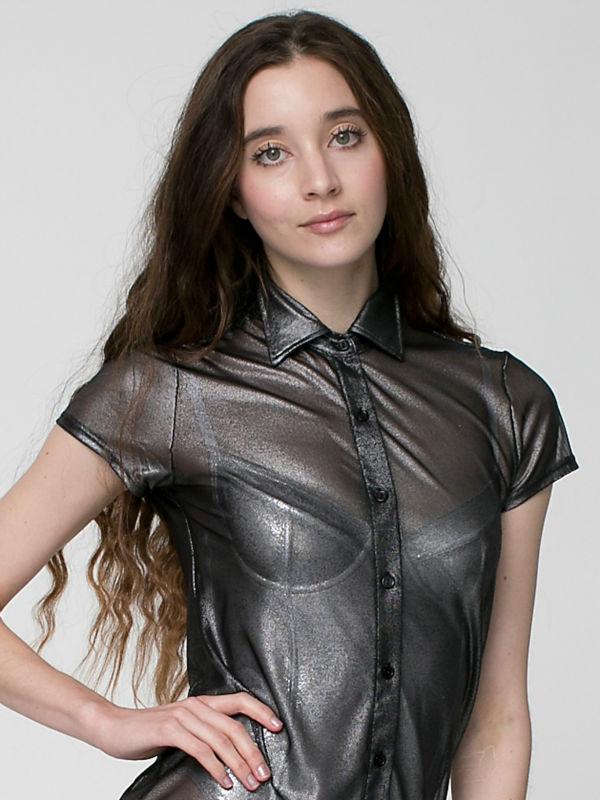New Women Fashion Shiny Mesh Button Up Transparent Dress
