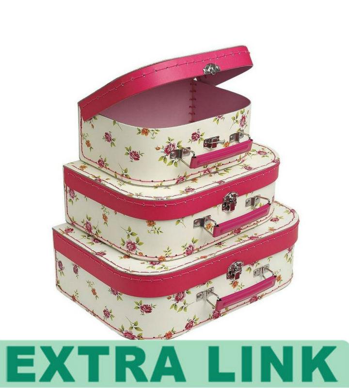 Good Custom Metal Handle Children Mini Travel Luggage Cardboard Storage  Packaging Box