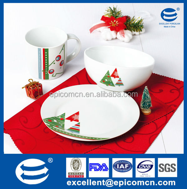 3 pcs christmas series porcelain tableware decoration ceramic bowls and plates set for kids  sc 1 st  Alibaba : plastic christmas dinnerware - pezcame.com