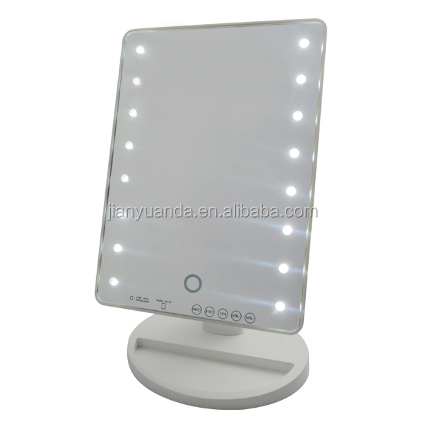 Luxury plastic square salon mirror with 16pcs led lights for Beauty salon mirrors with lights