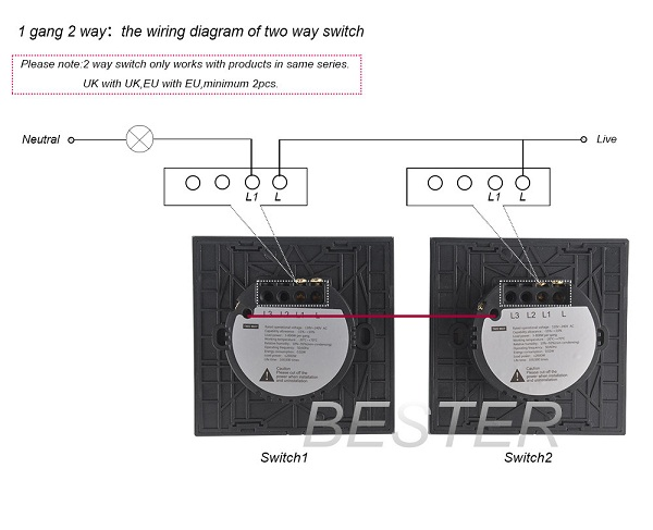 1 Gang 2 Way Smart Touch Switches For Home Automation With