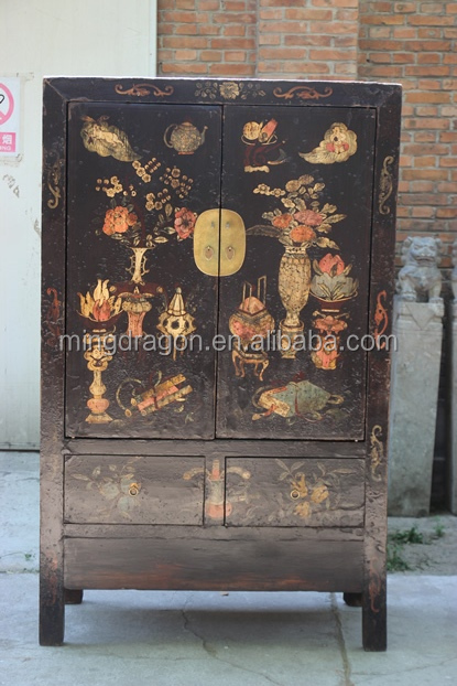 Chinese Antique Asian Furniture Shanxi painted wedding cabinet - Chinese Antique Asian Furniture Shanxi Painted Wedding Cabinet