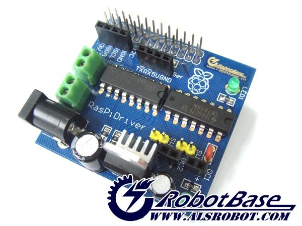 Raspirobot board raspberry pi dc motor driver buy for Dc motor raspberry pi