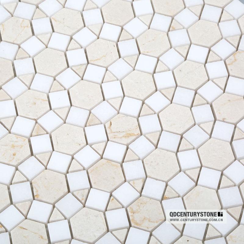 Crema Marfil Marble Mixed Thassos White Sunflower Mosaic Pattern ...