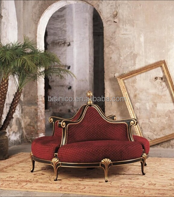 Vintage Retro Round Chair Sofa Golden Round Throne Sofa