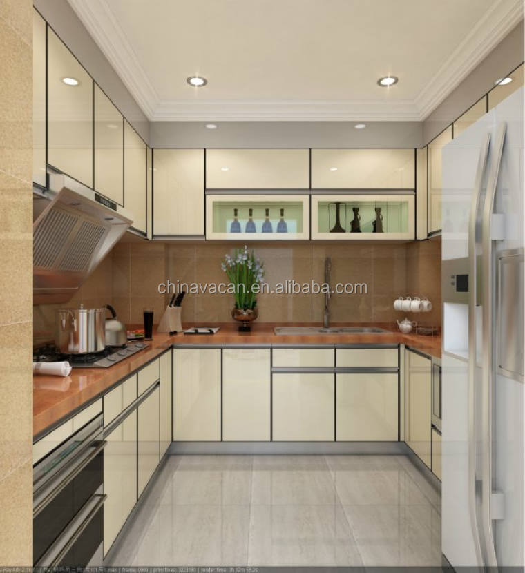 New Model Kitchen Cabinet Tempered Glass Cabinet Door/ High Glossy  Waterproof Kitchen Cabinets