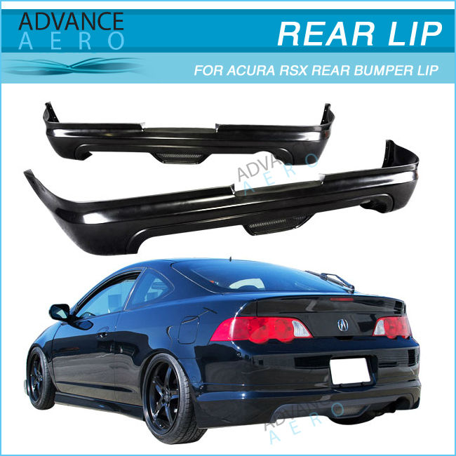 For 02-04 Acura Rsx Mugen Style Black Poly Urethane Pu Rear Bumper ...