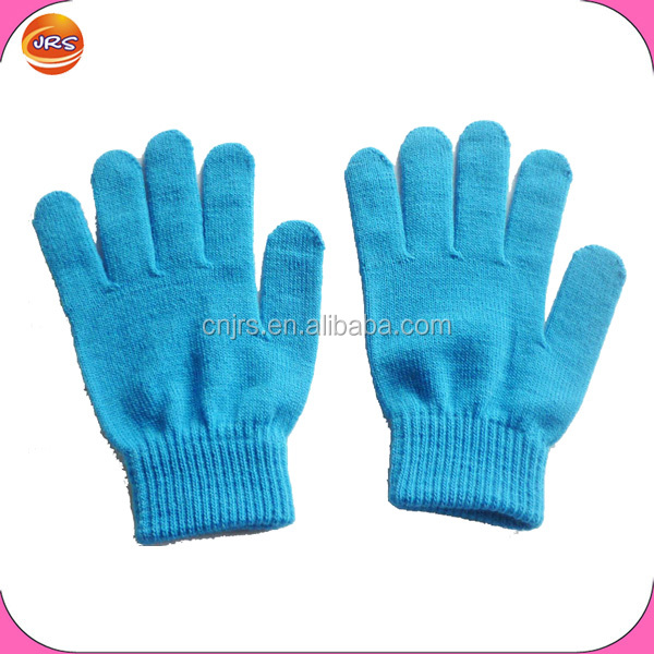 Cheap knit magic gloves navy blue knitted stretch gloves