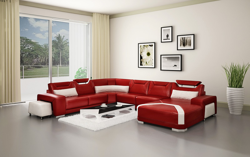 Luxury White And Red Leather Sofa Set/ Royal Sofa Set Designs ...
