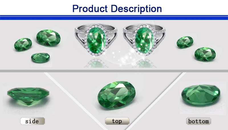 best sell oval cut 5x7mm synthetic cz green gemstone names