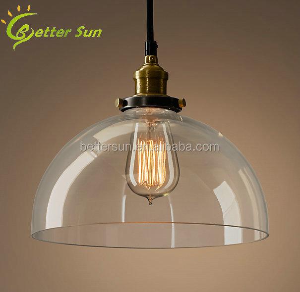 Simple Ceiling Light Pendant Lamp Edison Vintage Glass Bell ...