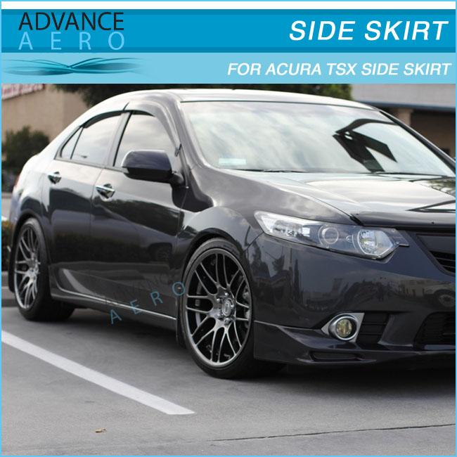 For 09-11 Acura Tsx Poly Urethane Black Jdm Side Skirt Side Bumper ...