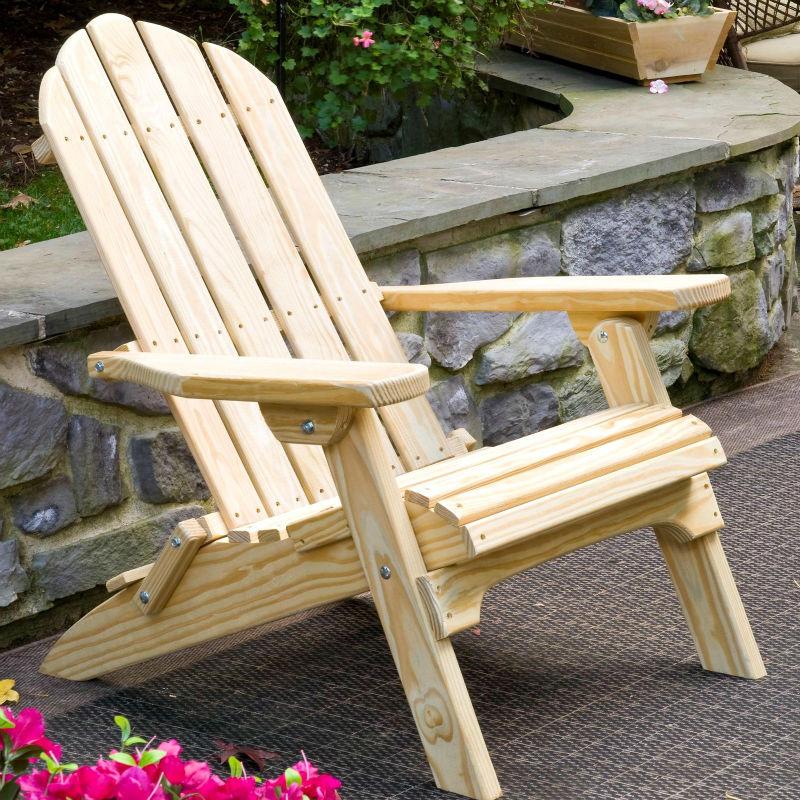 Adirondack silla paci n jard n en acabado de madera for Sillas de madera para jardin