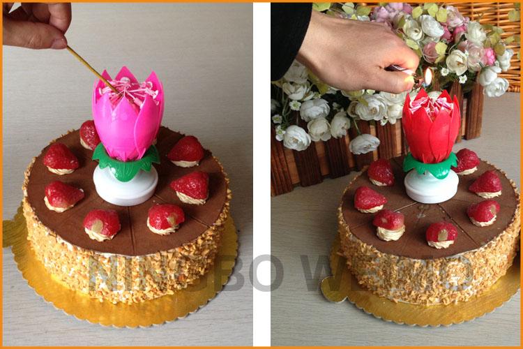 Unique Happy Birthday Singing Lotus Candle Handmade Cake