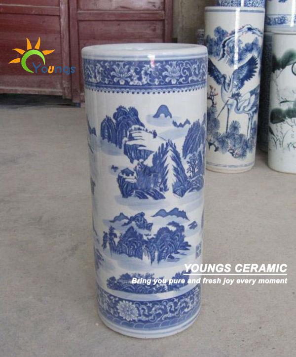 Varied Chinese Blue And White Ceramic Cylinder Floor