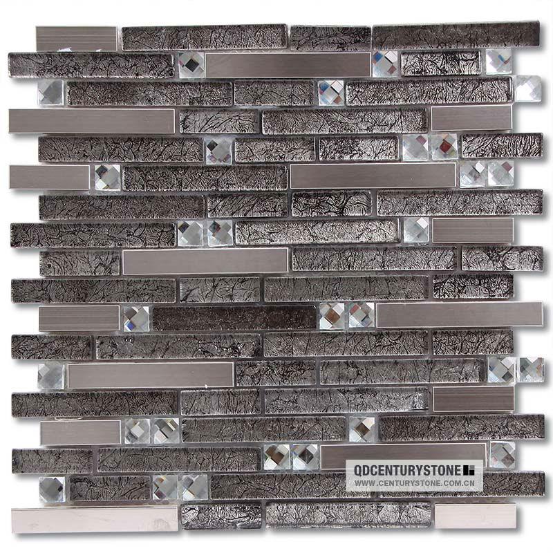 Shiny Strip Gl Mixed Backsplash Mirror Metal Mosaic Tile