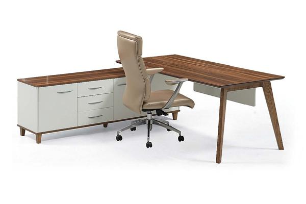 Modern Design Teak Wood L Shaped Executive Office Desk