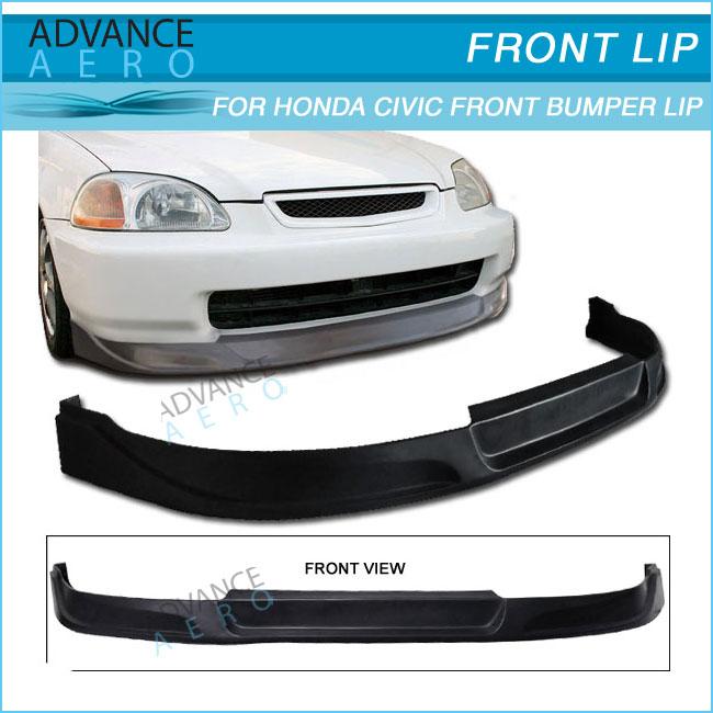 Front Bumper Lip Fits 1999-2000 Honda Civic OE Style PU Black Front Lip Spoiler Splitter by IKON MOTORSPORTS