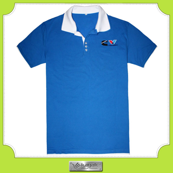 Custom Made Cotton Pique Mens Embroidery Royal Blue Polo